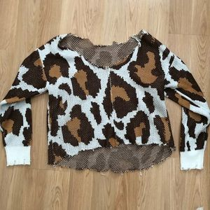 Large Cropped distressed leopard sweater
